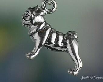 Silver Pug Charm Etsy