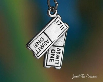 SHOW TICKETS Solid Sterling Silver 925 Charm Pendant Movie Theater Concert 3694