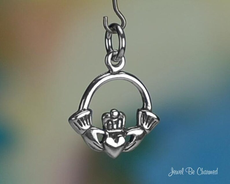 Sterling Silver Claddagh Heart in Hands Charm Circle Irish Solid .925