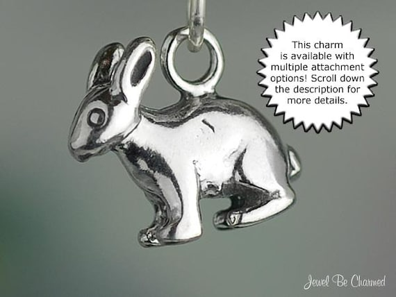 Sterling silver bunny rabbit charm with jump ring .925 add to bracelet or chain