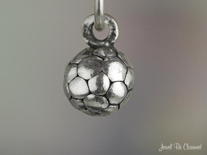 e438d57cd Miniature Sterling Silver Soccer Ball Charm Small Tiny 3D | Etsy
