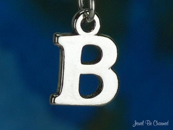 Solid .925 Sterling Silver CZ Letter P w//Lobster Clasp Charm 11 mm