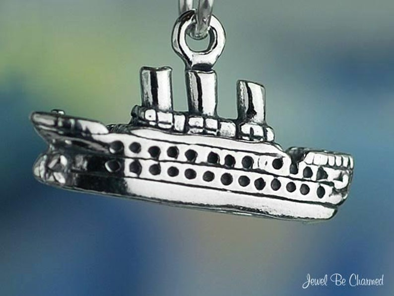 Cruise Ship Pendant Boat Charm Cruise Ship Charm Vacation Charm Boating Charm Sterling Silver Vacation Pendant