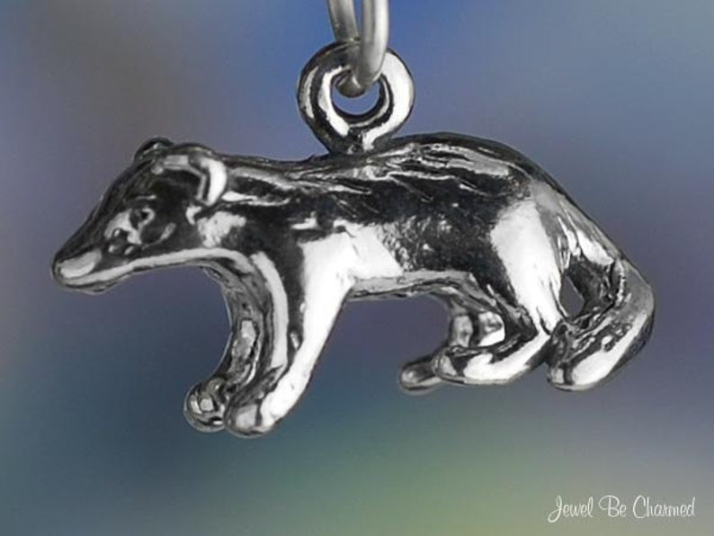 Sterling Silver Badger or Honey Badgers Charm Wild Animal 3D image 0