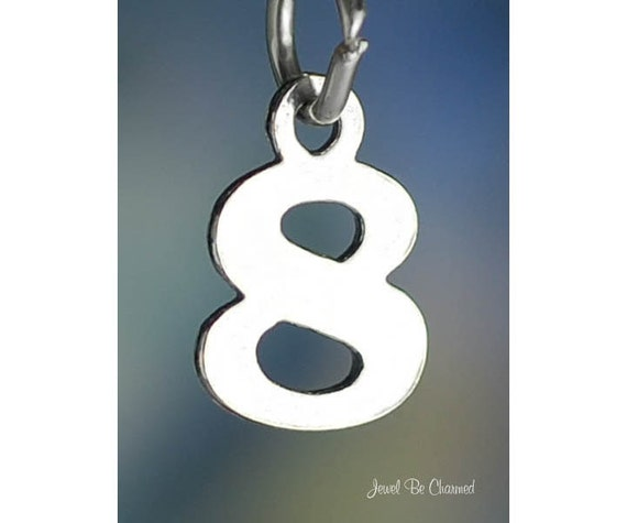 925 Sterling Silver Number 2 Pendant Two Digit Charm Numeral Elongated Small