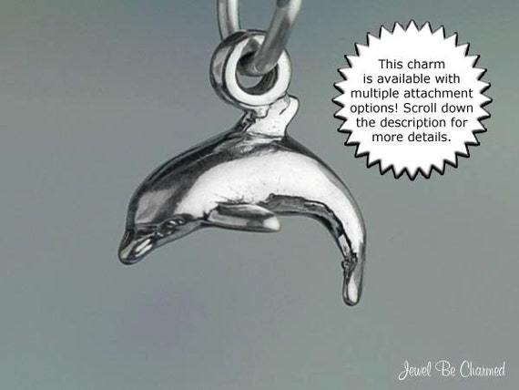 Small Dolphin Sterling Silver Clip On Charm Soldered On Clasp