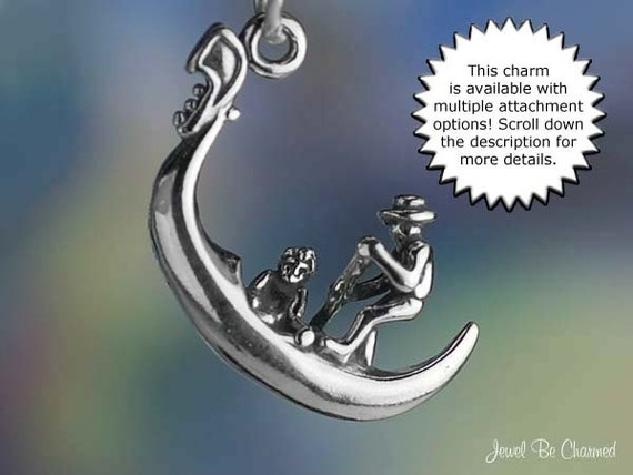 Gondola Boat Venice Italy 3D 925 Solid Sterling Silver Charm Pendant MADE IN USA