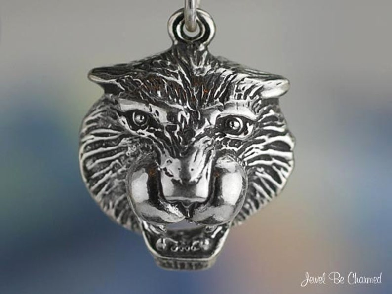 Sterling Silver Tiger Head Charm Roaring Growling Animal Solid .925