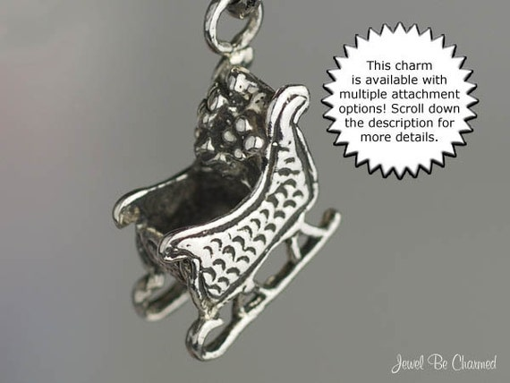 SANTA CLAUS in SLEIGH with CHRISTMAS PRESENTS 3D 925 Solid Sterling Silver Charm