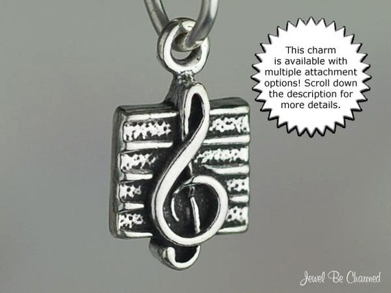 MUSICAL NOTE Charm Music Pendant Solid 925 Sterling Silver Treble Clef .925