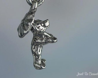 Sterling Silver Rainy Day Teddy Bear Umbrella Charm Miniature Tiny 925