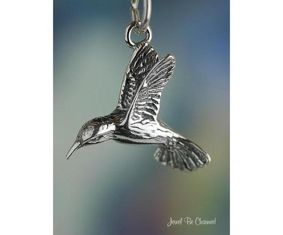 Sterling Silver Pretty Flower Hummingbird Pendant Garden Solid 925