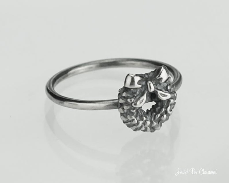 Sterling Silver Christmas Wreath Ring Solid .925 Rings Custom Sizes