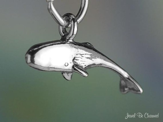 Whale Or Dolphin Tail 3D .925 Solid Sterling Silver Slide Pendant MADE IN USA