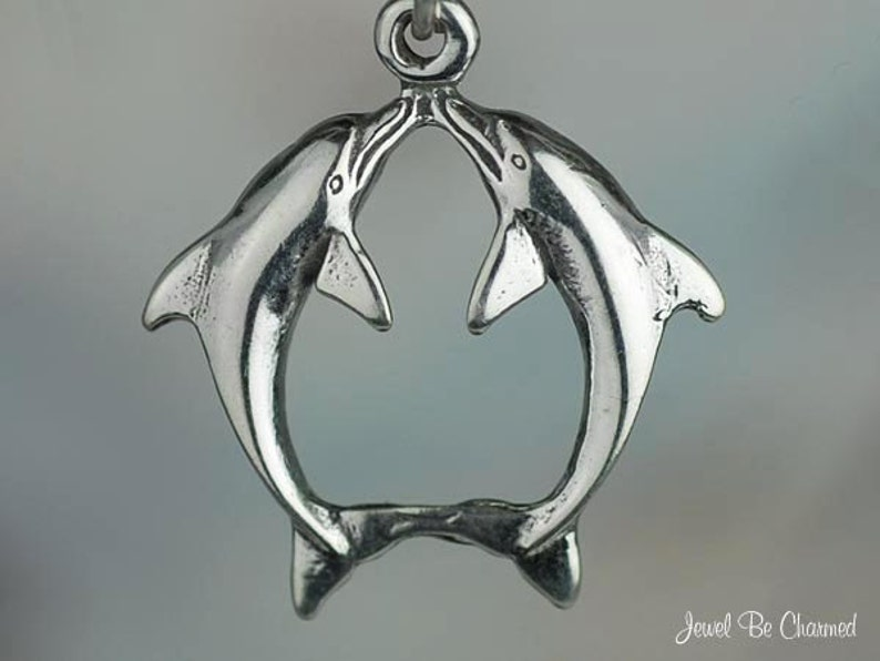 Dolphin 3D .925 Solid Sterling Silver Traditional Charm Pendant MADE IN USA