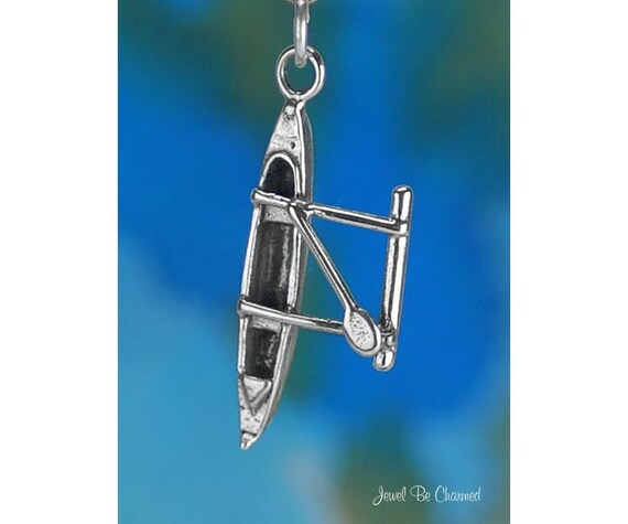 Outrigger Hawaii Canoë Bateau 3D 25 Solid Sterling Silver Charm Made in USA