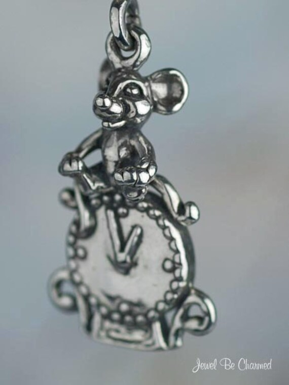Sterling Silver 3D Hickory Dickory Dock The Mouse Ran Up The Clock Charm