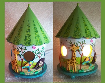 Handmade, Hand Painted, Childrens Night Light,  Zoo Birdhouse Nightlight Lamp, Tabletop light, Zoo Animals, Decorative, Nursery Lamp