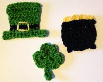 Crochet Pattern - St. Patty's Mixer Applique - 3 Appliques in 1 pattern