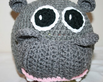 Crochet Hippo Beanie Pattern Only - Sizes 0-3 thru Med - Large Adult
