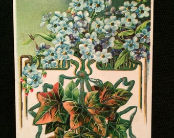 Victorian Postcard - Forget Me Not Flowers - Ivy Plant