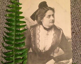 Real Photo Postcard - Woman of Arles France - Lace Costume - French Postcard - Antique Photo