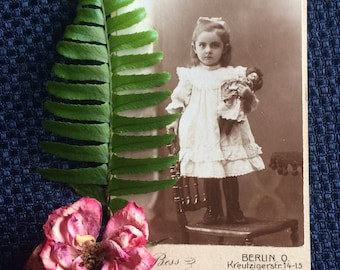 Antique CDV  Photo - Victorian Girl with Doll - Berlin Germany - Old Photo - Photography