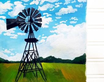 Windmill Art Print - Windmill Painting Print, Windmill Art, Farmhouse Print, Farmhouse Art, Farmhouse Painting Print, Farm Art, Farm Print