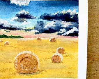 Hay Bale Art Print - Hay Field Print, Hay Field Art, Farmhouse Art Print, Farmhouse Art, Farmhouse Wall Art, Hay Field Painting, Farm Art