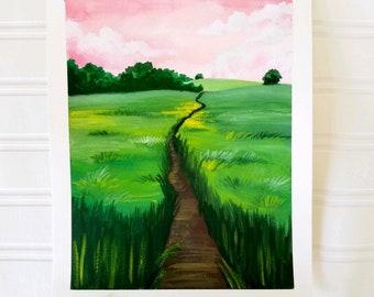 Field Painting Print - Landscape Print, Field Art, Country Art, Country Painting, Country Print, Art Print, Country Wall Art, Farm Field