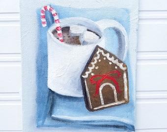 Christmas Painting - Christmas Art, Coffee Art, Coffee Painting , Christmas, Holiday Decor, Coffee Decor, Christmas Decor, Original Painting