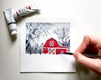 Red Barn Painting - Winter Painting, Original Painting, Winter Red Barn, Snow Landscape, Snowy Painting, Snowy Art, Farmhouse Art, Farm Art