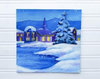 Winter Painting - Winter Art, Winter Decor, Snow Painting, Christmas Painting, Christmas Art, Christmas Decor, Winter Landscape, Original