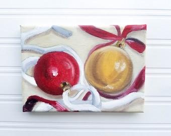 Christmas Painting - Ornament Painting, Christmas Art, Christmas Decor, Holiday Painting, Holiday Art, Oil Painting, Original Painting, Xmas