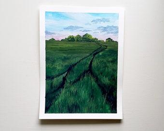 Field Painting - Field Landscape, Original Painting, Original Gouache Painting, Farmhouse Art, Farmhouse Painting, Farm Art, Farm Painting