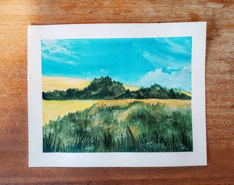 Gouache Landscape Painting - Meadow Field Country Farmhouse Original Painting Blue Yellow Green 8x10