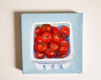 Tomato Oil Painting - Farmhouse Painting, Kitchen Art, Kitchen Painting, Original Oil Painting, Blue Red Art, Tomatoes, Dining Room Art, 6x6