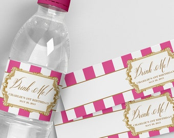 Alice in Wonderland Water Bottle Labels . Gilded Alice in Wonderland Collection . by Loralee Lewis