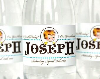 Vintage 1st Birthday Boy Water Bottle Labels by Loralee Lewis
