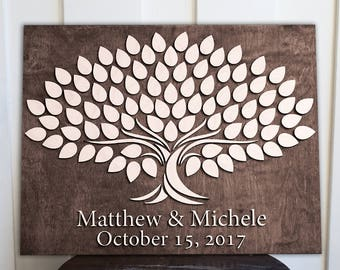 Personalized Guestbook     Wedding Guestbook   14x18 Tree   Alternative Wedding Guest Signing  Book   3d Wood Tree Guestbook  