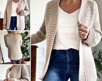 CROCHET PATTERN, The Callen Top Down Cardigan, Crochet Cardigan Pattern, Sweater Pattern