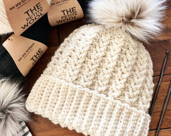 CROCHET PATTERN, The Emery Cluster Stitch Beanie Pattern, Double Brim Beanie, Brimless Beanie, Crochet Hat Pattern, Crochet Pattern