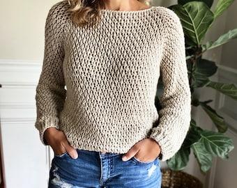 CROCHET PATTERN, The Bowen Top Down Sweater, Women's Crochet Sweater Pattern, Crochet Pattern, Crochet, Pattern, Sweater