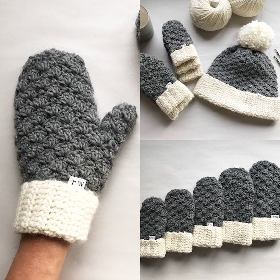 crochet pattern the jesse mittens crochet mittens easy etsy