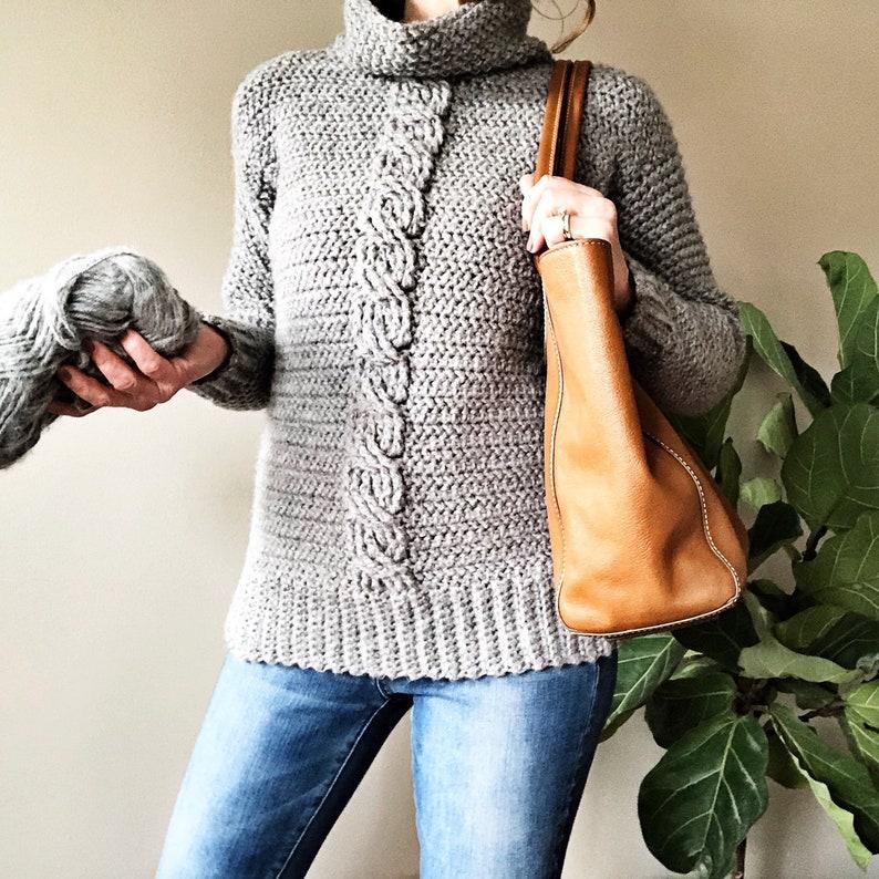 CROCHET PATTERN The Ashlyn Cabled Sweater Pattern Crochet image 0