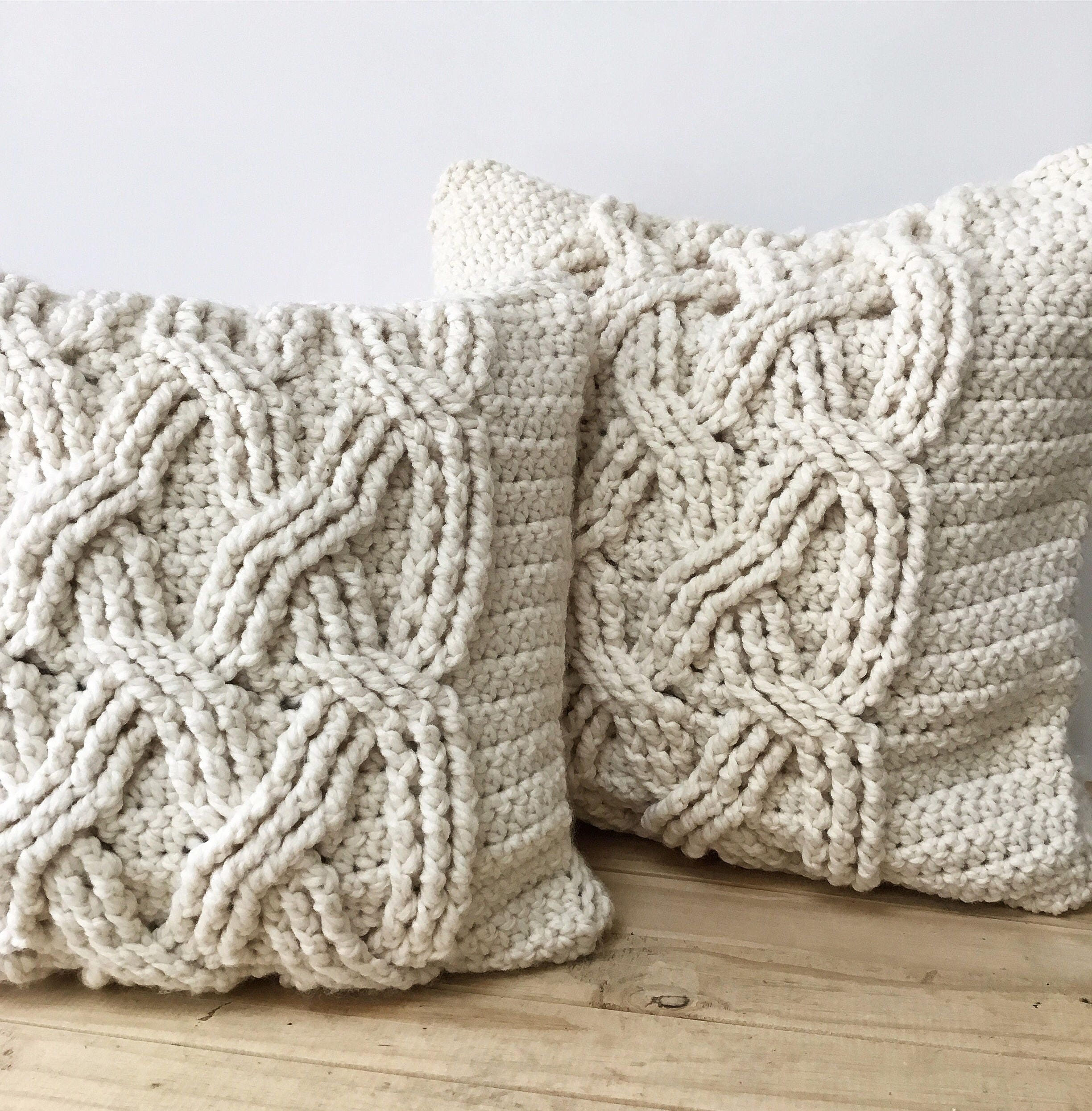 CROCHET PATTERN, Chunky Cabled Pillow Pattern, Crochet Pillow ...