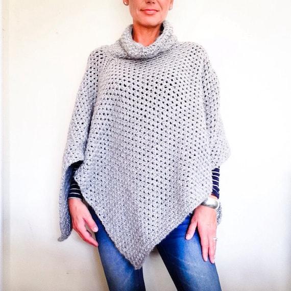 Patrón patrón de Poncho fácil el Poncho Crochet Poncho | Etsy