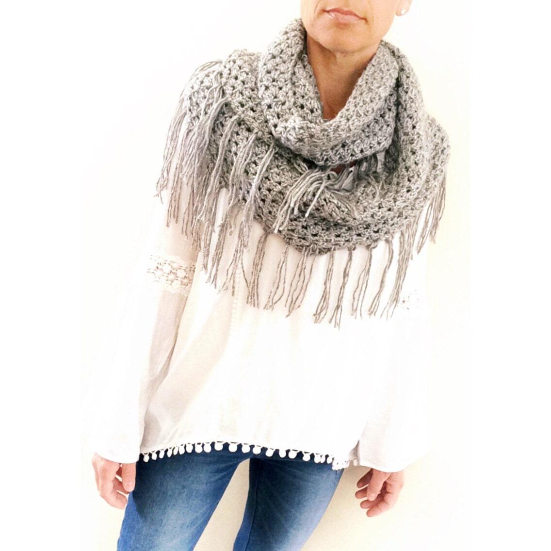 Crochet Scarf Pattern The Alta Fringe Loop Scarf Crochet Etsy