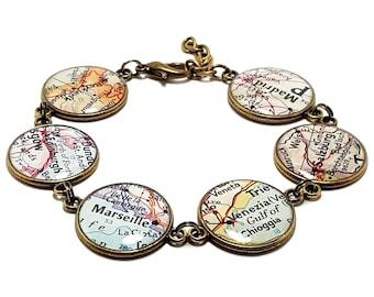 Custom Map Charm Bracelet Denver Colorado State of CO Bangle Cuff Bracelet Vintage Map Jewelry Stainless Steel Bracelet