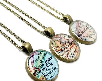 Map necklace etsy personalized vintage map necklace you pick city state or country anywhere in the world map jewelry made in yellow sprints ohio aloadofball Images